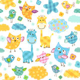 Birds and giraffes pattern Royalty Free Stock Photography