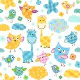 Birds and giraffes pattern