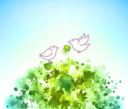 Birds and green leaves Royalty Free Stock Image