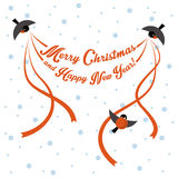 Birds are greeting inscription Royalty Free Stock Photo