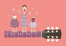 Birds on a guitar neck. Birds sing to the guitar neck, vector cartoon illustration, flat design Stock Photo