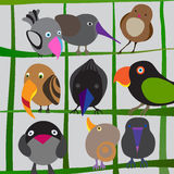 Birds. Hand Drawn Vector Birds on Branches. Colorful Set of Different  Birdies Stock Photography