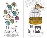 Birds Happy Birthday card Royalty Free Stock Photography