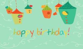 Birds happy birthday's card. Birds and bird's home happy birthday's colorful card Stock Photography