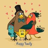 Birds happy family. Together embracing vector illustration stock illustration