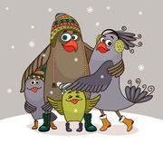 Birds happy family. At winter embracing vector illustration Royalty Free Stock Photography