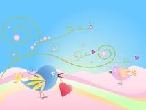 Birds with heart Stock Photos