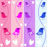 Birds Heart Banners. A set of four colorful and cute bird banners with hearts, vector Royalty Free Stock Photos