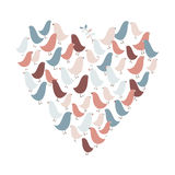 Birds heart. Creative St. Valentines greeting postcard with heart made of cute birds in delicate colors Royalty Free Stock Image