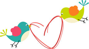 Birds with heart shaped wire Royalty Free Stock Image