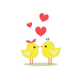 Birds and heart. Two yellow birds that they kiss and red hearts Royalty Free Stock Photos