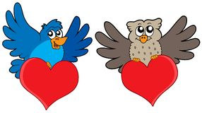 Birds with hearts Royalty Free Stock Image