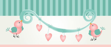 Birds and hearts banner Stock Images