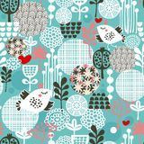 Birds, hearts and flowers. Royalty Free Stock Photo