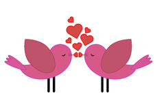 Birds with hearts kiss Stock Photography