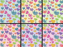 Birds and hearts pattern Stock Photos