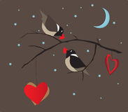 Birds and hearts valentine card vector Stock Images