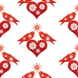 Birds and hearts wallpaper Royalty Free Stock Photos