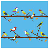 Birds hold branch vector. Stock Images