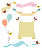 Birds Holding Banners. Illustration of cute birds holding banners Stock Photography