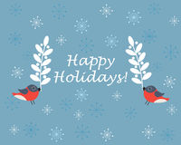 Birds holding branches on blue background with snowflakes Stock Photos