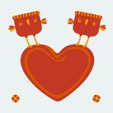 Birds holding the heart. Background Birds holding  big heart. EPS 8 Royalty Free Stock Images
