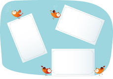 Birds holding paper lists. Vector illustrations of birds holding paper lists royalty free illustration