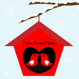 Birds Home Sweet Home Birdhouse Stock Image