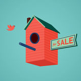 Birds house with a for sale dign. The metaphor of the real estate. Vector illustration Royalty Free Stock Photos