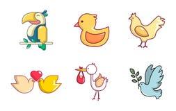 Birds icon set, cartoon style Royalty Free Stock Photography