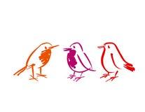 Birds icon set. shabby animal image. Royalty Free Stock Photography