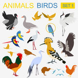 Birds icon set. Vector flat style Royalty Free Stock Photography