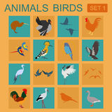 Birds icon set. Vector flat style. Stock Photos