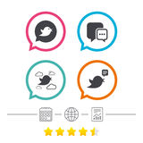 Birds icons. Social media speech bubble. Chat bubble with three dots symbol. Calendar, internet globe and report linear icons. Star vote ranking. Vector Stock Images