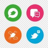 Birds icons. Social media speech bubble. Royalty Free Stock Photos