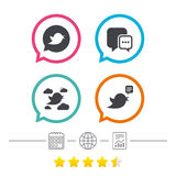 Birds icons. Social media speech bubble. Short messages chat symbol. Calendar, internet globe and report linear icons. Star vote ranking. Vector Royalty Free Stock Photography