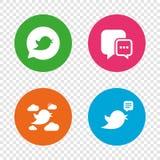 Birds icons. Social media speech bubble. Royalty Free Stock Photography