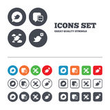 Birds icons. Social media speech bubble Royalty Free Stock Images
