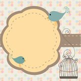 Birds invitation. Beautiful background with frame and birdcage, vector illustration stock illustration