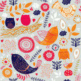 Birds and leaves. Seamless pattern with birds and leaves Royalty Free Stock Photos