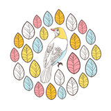 Birds and leaves. Circle Vector Illustration Card Royalty Free Stock Image