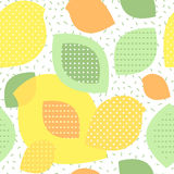 Birds and leaves seamless background. Collage style with polka dots and stripes. Yellow, green and orange colors Stock Image