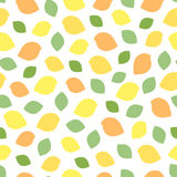 Birds and leaves seamless pattern. Minimal style. Yellow, green and orange colors Royalty Free Stock Photo