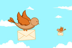 Birds with letters Royalty Free Stock Photography