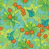Birds Life Draw Flower Seamless Pattern_eps. Illustration of cartoon birds life, happy with green and flowers seamless pattern. --- This .eps file info Version vector illustration