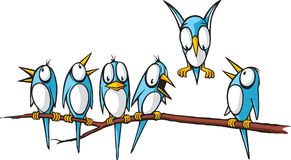 Birds on a limb. Six cartoon blue birds sitting on a limb.A great way to announce  spring in company newsletters Royalty Free Stock Photo