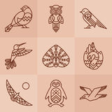Birds line icons. Set of 9 vector outline birds icons vector illustration