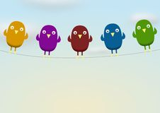 Birds on line Royalty Free Stock Photography