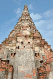 Birds live in the hole of brick wall in an old contemporary temple in Ayuthaya Thailand Royalty Free Stock Images
