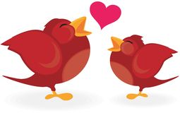 Birds in love. Red little birds singing love songs Royalty Free Stock Photography